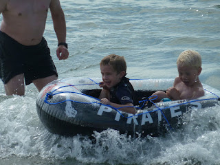 inflatable boat and waves