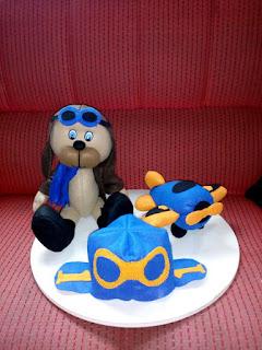 Urso aviador de feltro