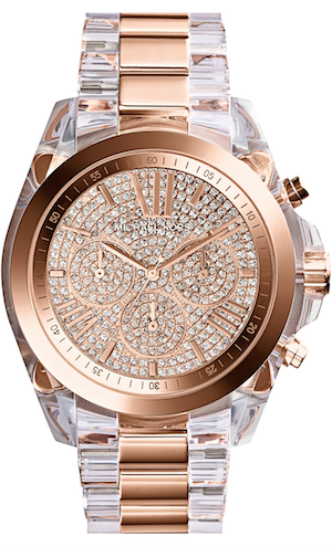 Michael Kors 'Bradshaw' Pavé Dial Chronograph Resin Bracelet Watch, 43mm