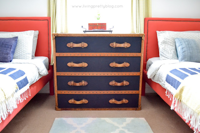 Leather Steamer Chest - Blue Red Mint Kids Room - Shared Kids Room Reveal - One Room Challenge