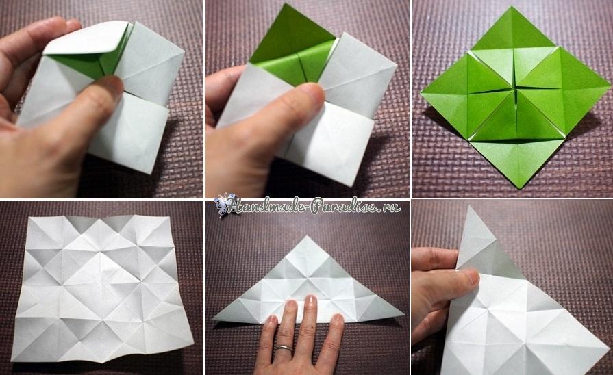 Гортензия из бумаги в технике оригами (8)