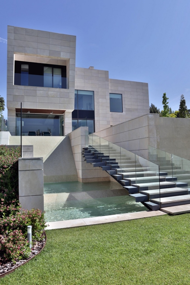 Modern mansion in Madrid as seen from the backyard