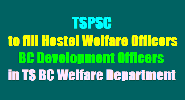 TSPSC to fill Hostel Welfare Officers, BC Development Officers in TS BC Welfare Department 2017