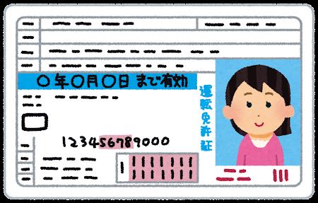 運転免許証のイラスト(女性)