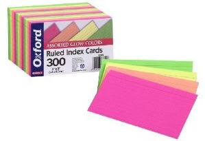 Image: Oxford 3X5 Glow Index Cards, Ruled, Assorted Colors, 300 Count