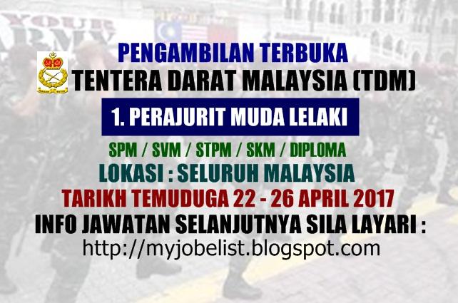 Pemilihan Awal Perajurit Muda Lelaki Tentera Darat Malaysia (TDM) Pada April 2017