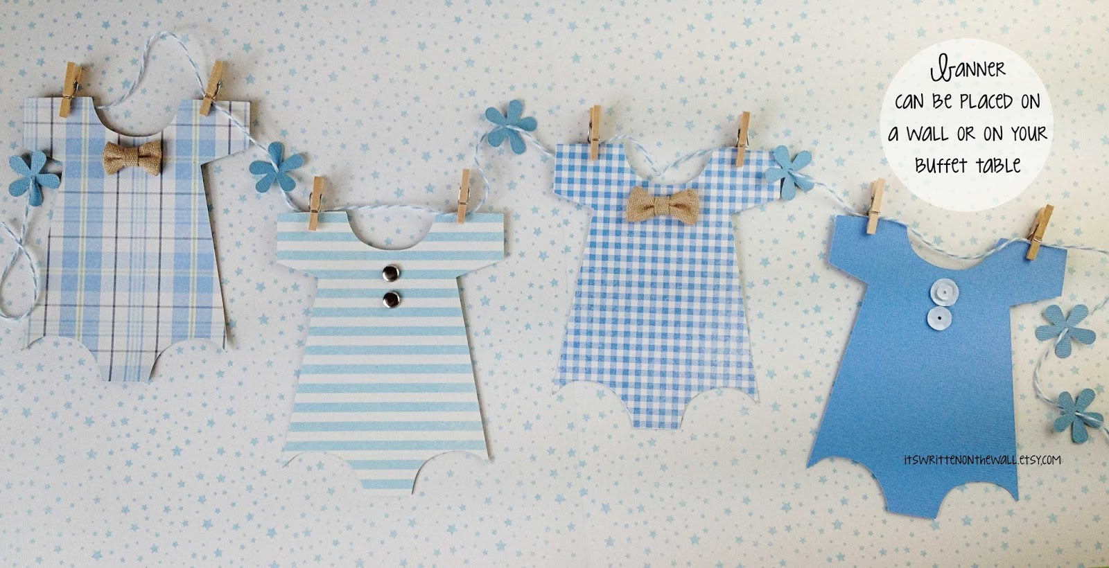 its written on the wall looking for cute baby shower decorations see our onesies banners for both boys and girls