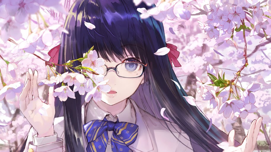 Anime, School Girl, Glasses, Cherry Blossom, 4K, #294