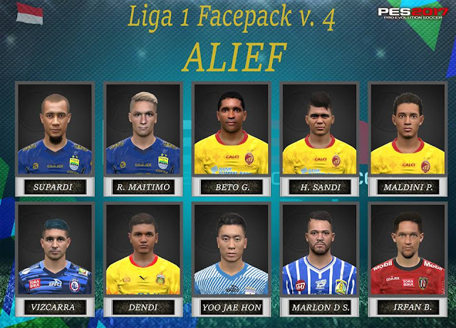 PES 2017 Liga 1 Gojek Traveloka Facepack V4 dari Alief
