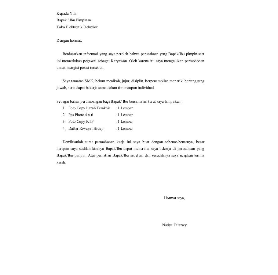 Contoh Surat Lamaran Kerja Daftar 100