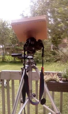 custom solar filter box on camera, from rear