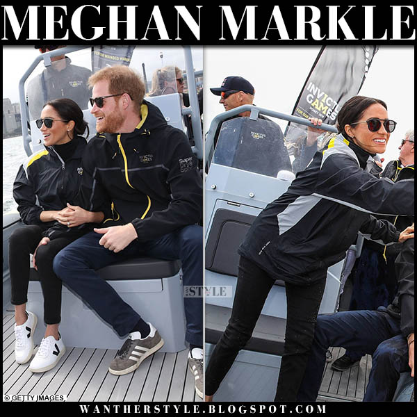 Meghan Markle in black jacket, black outland jeans and white sneakers veja sailing final invictus games style october 20