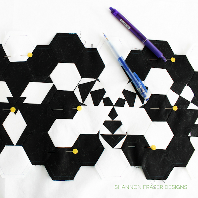 Modern Quilted Table Runner | Black & White | Shannon Fraser Designs | Quilted Hexies and Jewels using Hex-N-More Ruler | Needleturn Applique