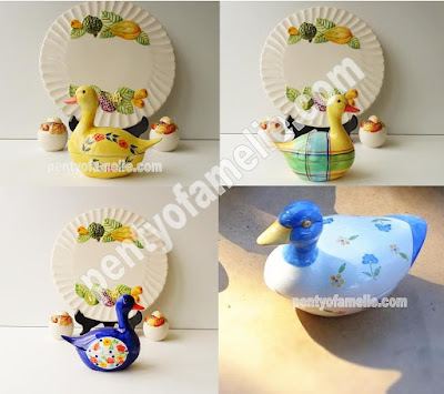 Michel Caugant Vintage Duck Tureens with floral motif made in Portugal. Rare pieces.