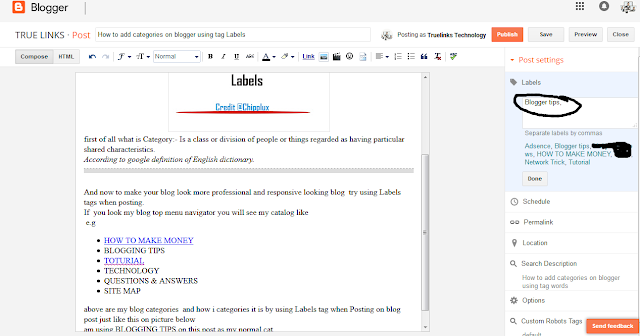 How to add categories on blogger using tag Labels