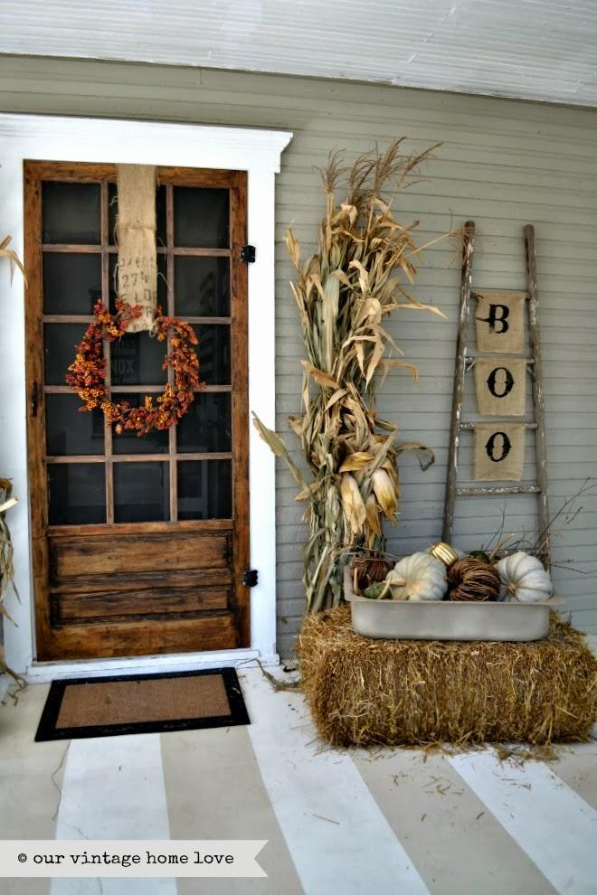 Vintage fall porch decor