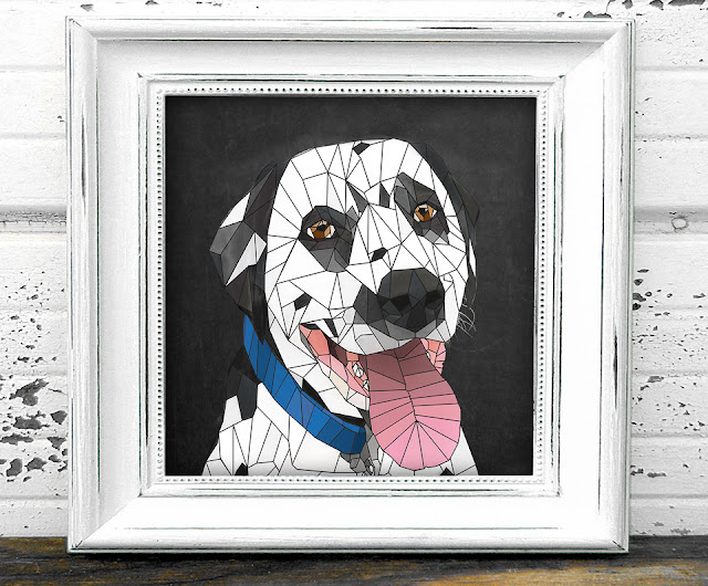 Framed geometric art print of a smiling Dalmatian dog with blue collar