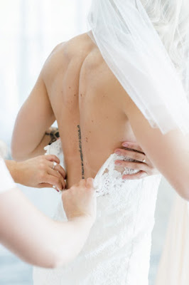 low back wedding gown shot