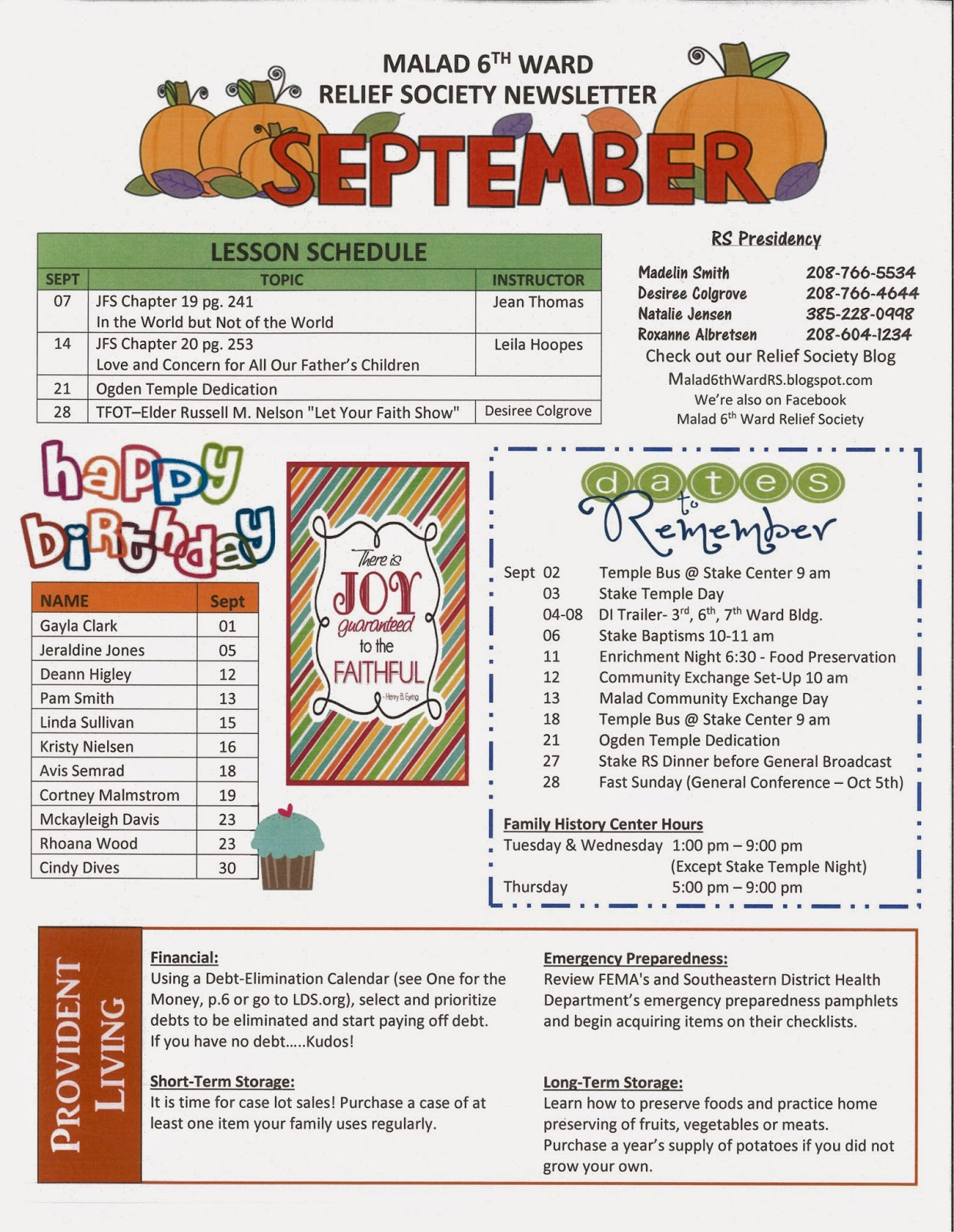 New Malad 6th Ward Relief Society Blog: SEPTEMBER NEWSLETTER AND  NF83