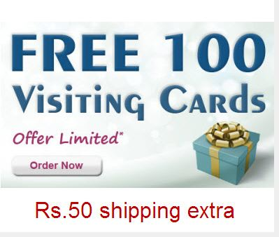 Free 100 Business Visiting Card From Printvenue Shipping Rs 50 Extra
