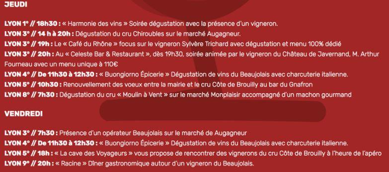 Programme du Printemps des Beaujolais 2018