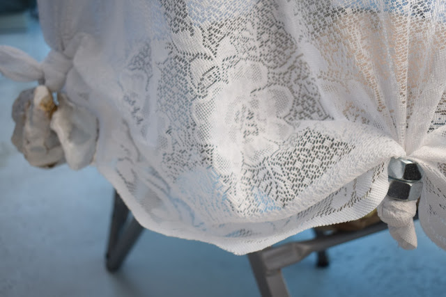 Keep Patio table cloth from blowing away using Nuts & Oyster/Sea Shells