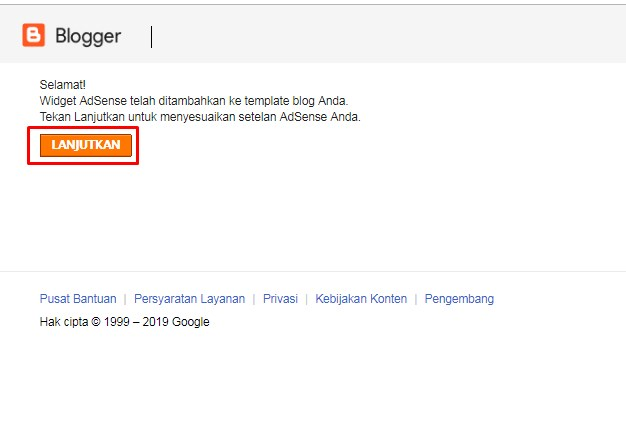 Gambar melanjutkan proses pemasangan widget adsense di blogger