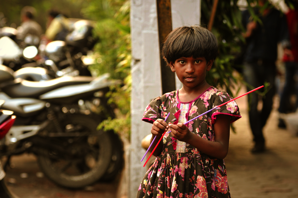 Girl in the streets of Mumbai in India.