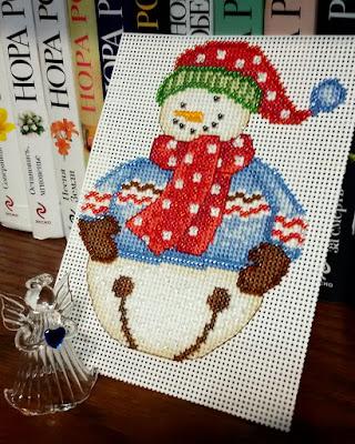 милл хилл, снеговик, вышивка крестом и бисером
