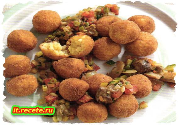Crocchette di riso con verdure e funghi