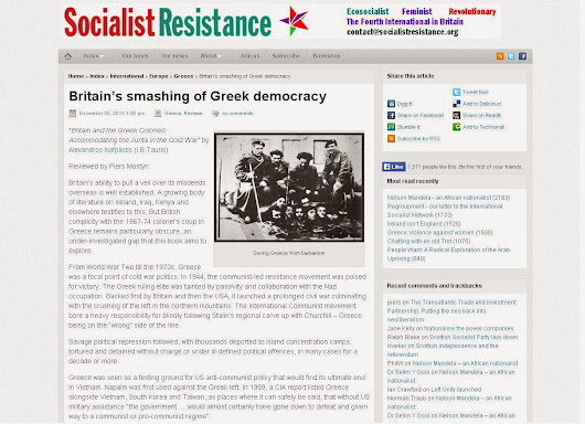 SocialistResistance reviews 'Britain and the Greek Colonels'