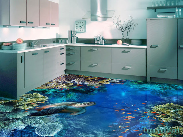 3D epoxy flooring designs and 3d floor art murals, 3d kitchen floor