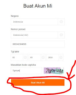 Form Registrasi Akun Mi