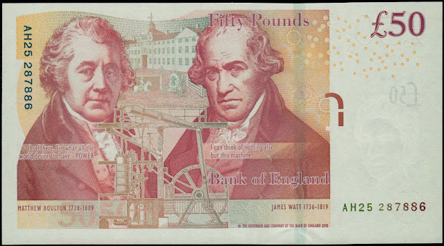 British Banknotes‎ 50 Pound Sterling note 2011 Matthew Boulton and James Watt