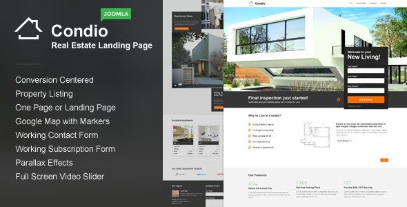 Condio Real Estate Agent One Page Joomla Template