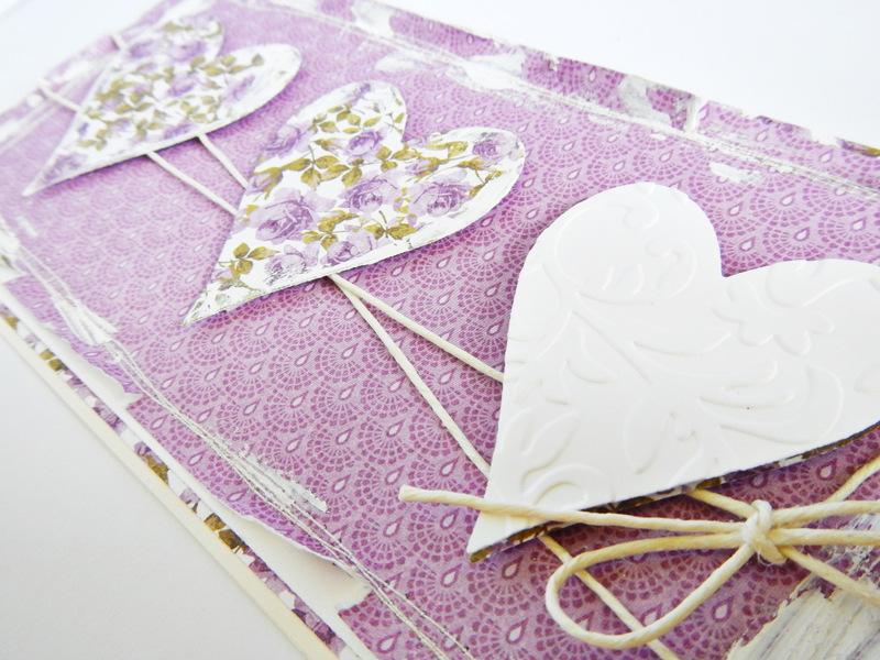 Kartka handmade fiołkowa na imieniny