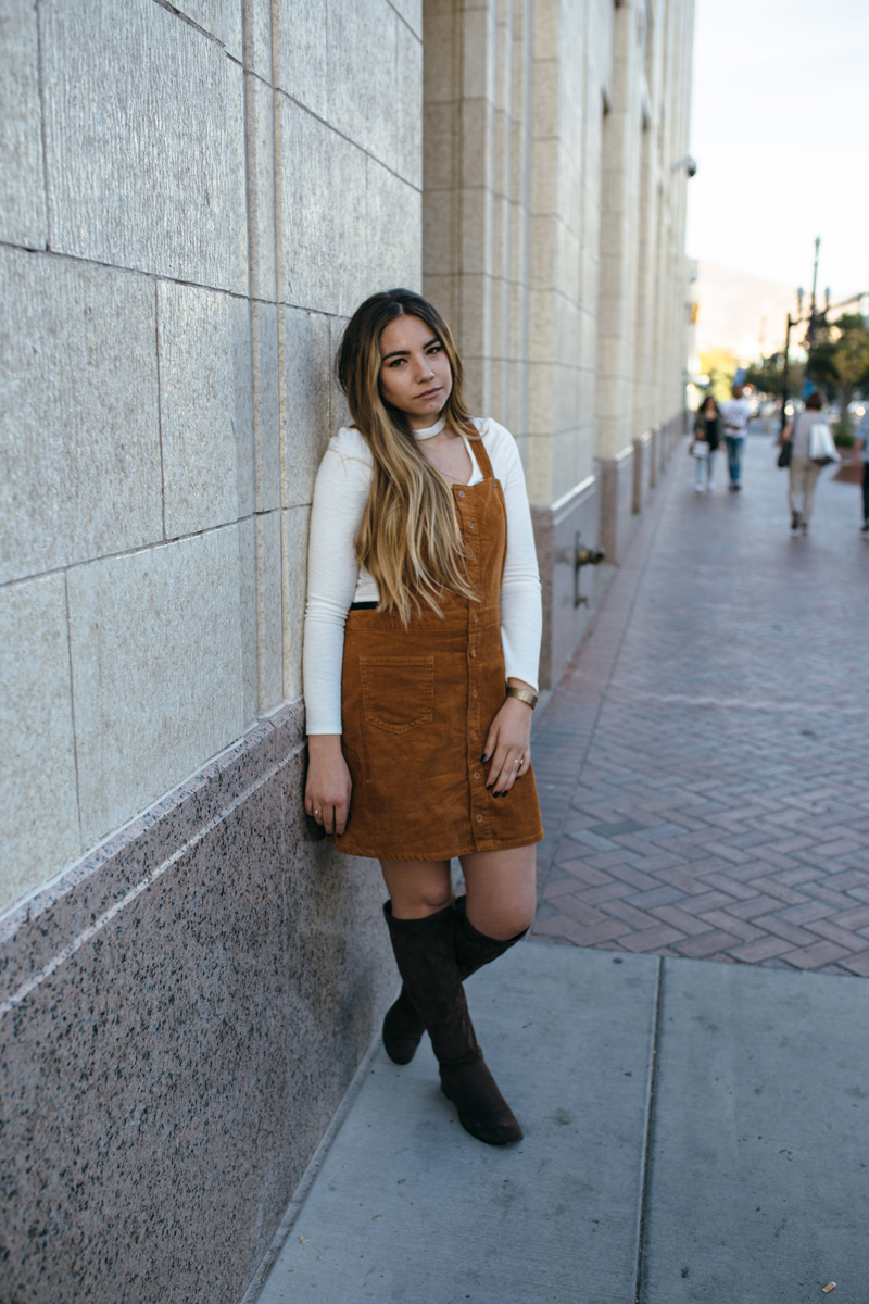 fall outfit, corduroy, jumper dress