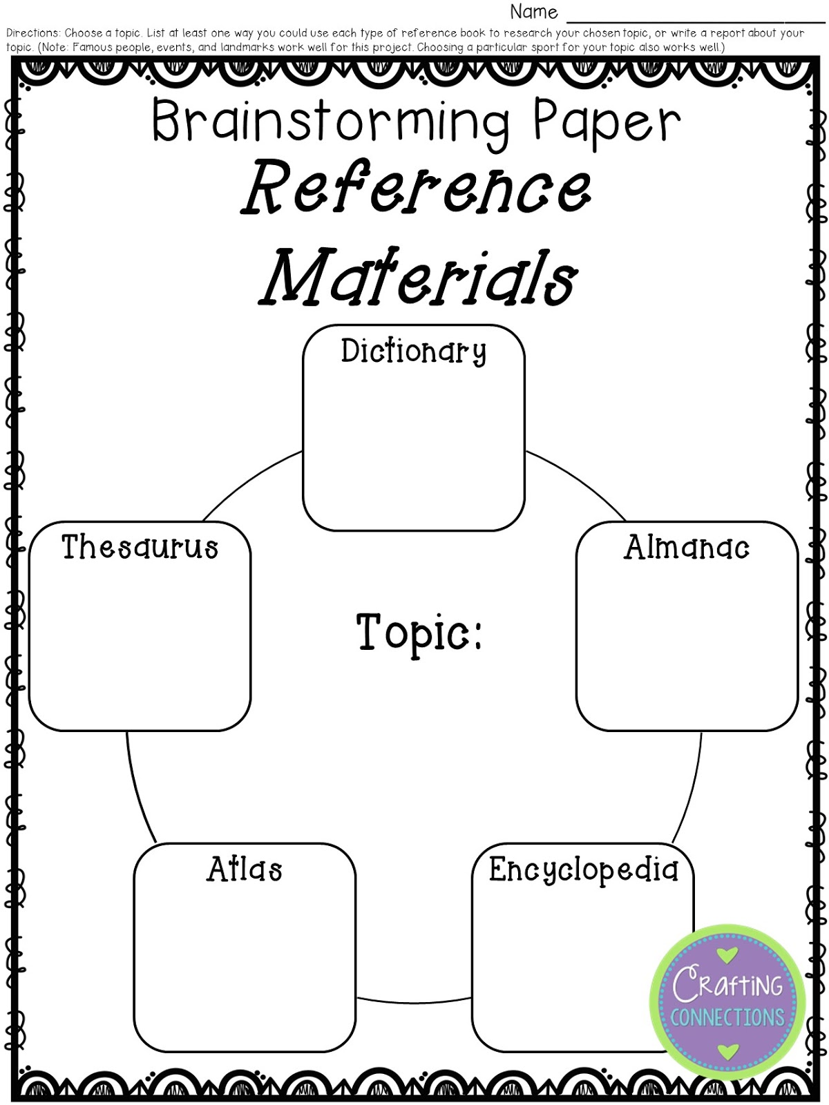 Crafting Connections Reference Materials A Freebie