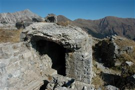 Remains still exist of military positions built on Mount Pal Piccolo during the First World War