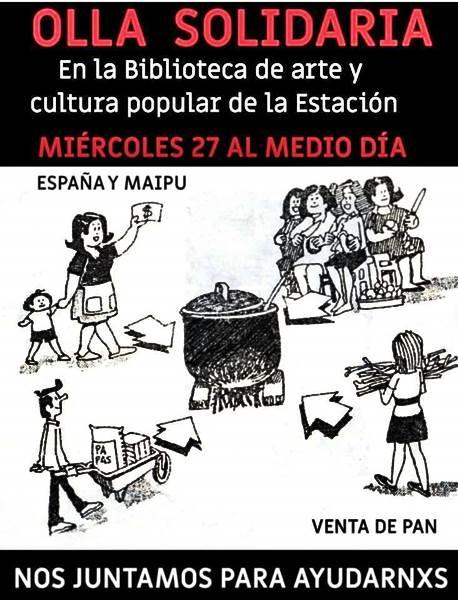 Este Miercoles: Olla Solidaria en el Teatro la Estación de Roca