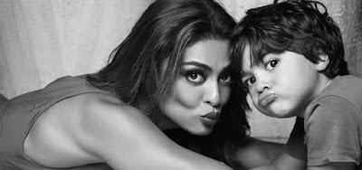 Juliana Paes com o filho Antônio, que tinha quatro meses quando a atriz voltou ao batente