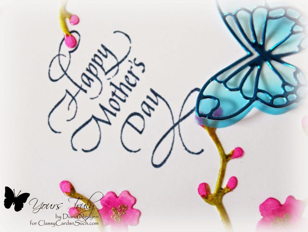 Diana Nguyen, Poppystamps, Darice, Quietfire Design, Mother's Day, butterflies, cherry blossom