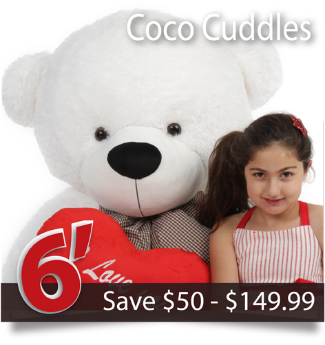 Six foot life size cuddly white teddy bear Coco Cuddles from Giant Teddy