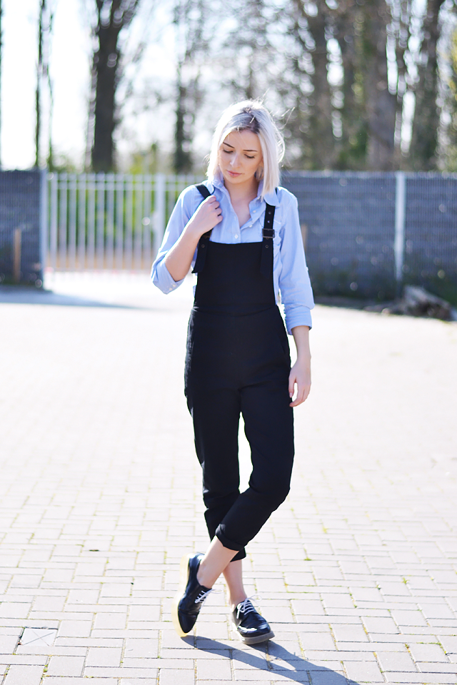 Asos black dungarees, striped blue shirt,