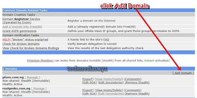 image sample of create subdomain using CNAME method with afraid.org