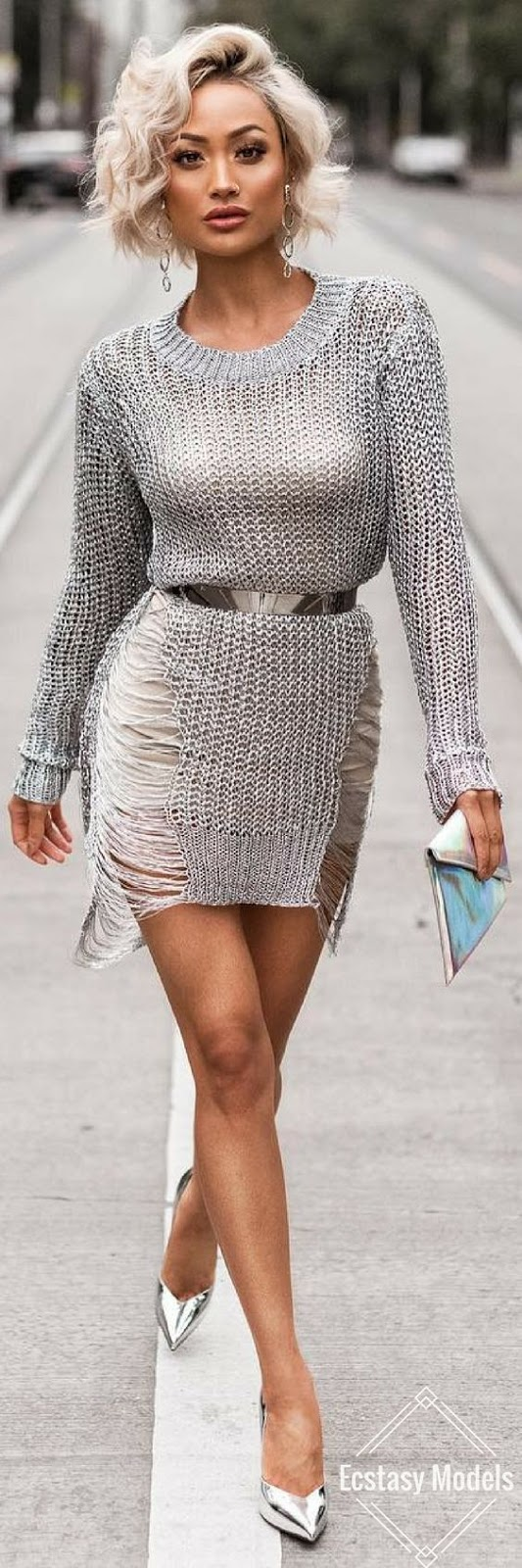 amazing look / knit dress + skirt + heels