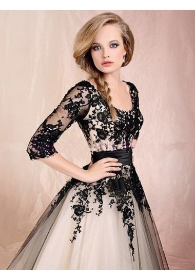 A-line Scoop Tulle Appliques Prom Dresses/Evening Dresses