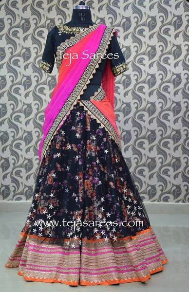 5e8fe1f134f790 Black Floral Print Half Saree - Saree Blouse Patterns
