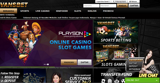 Vansbet.net Agen Sbobet Poker Online dan Casino Online Terpercaya