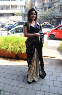 Neetu Chandra in Black Saree at Designer Sandhya Singh Store Launch Mumbai (11).jpg